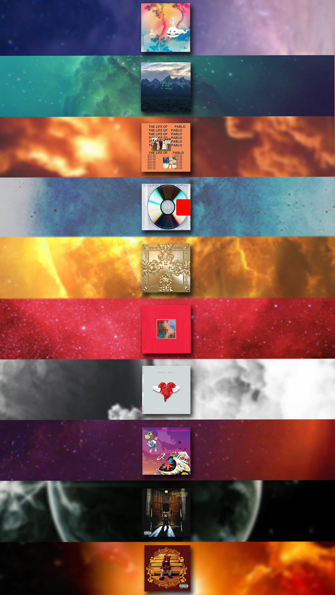 Kanye West albums Iphone wallpaper as requested with wtt