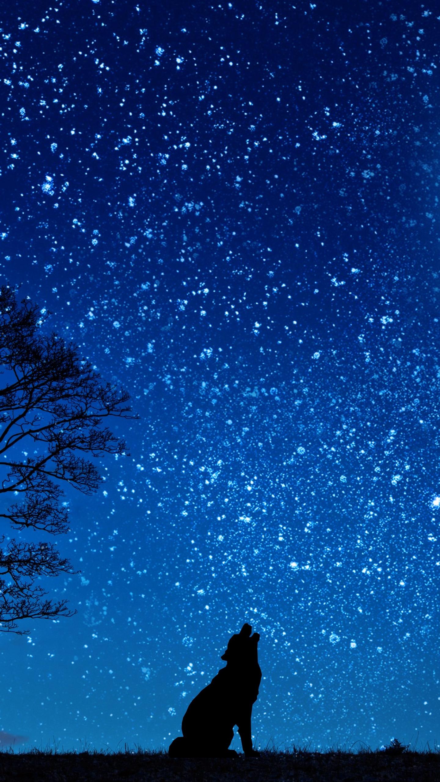 Download wallpaper 1440x2560 wolf, starry sky, tree, moon