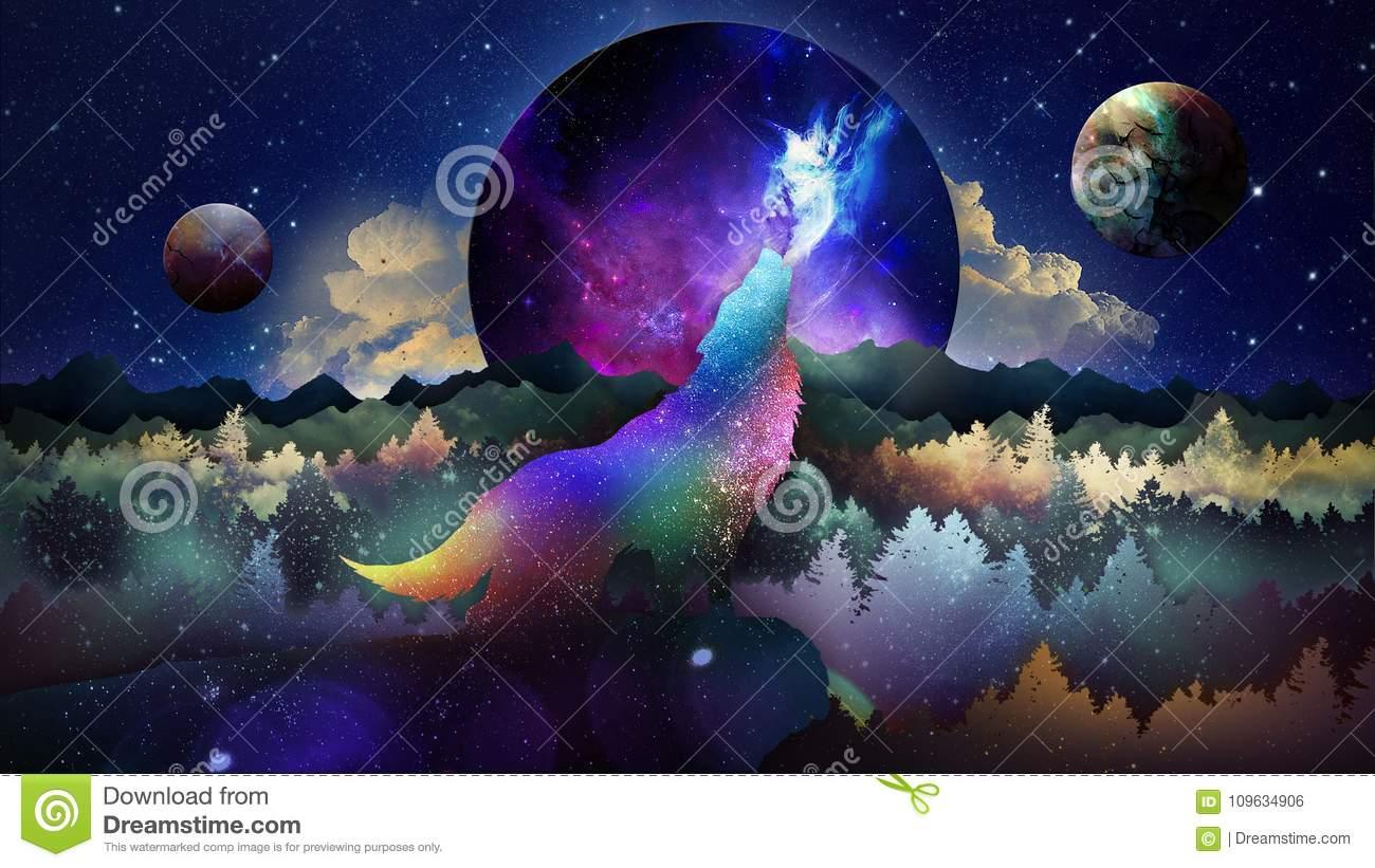 The Wolf Among Stars Wallpaper Stock Illustration