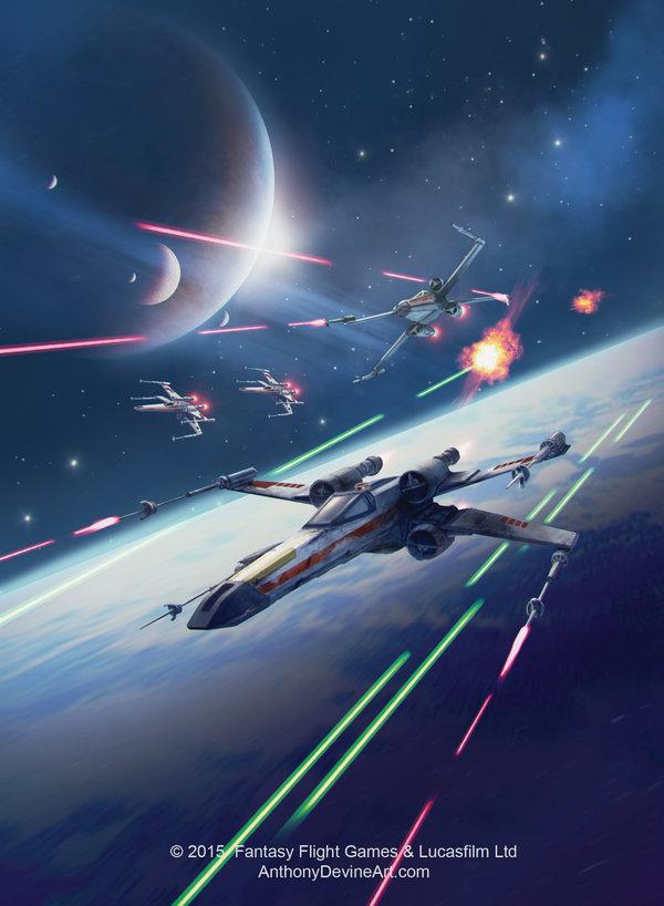 STAR WARS X wing Squadron by AnthonyDevine StarWars Art