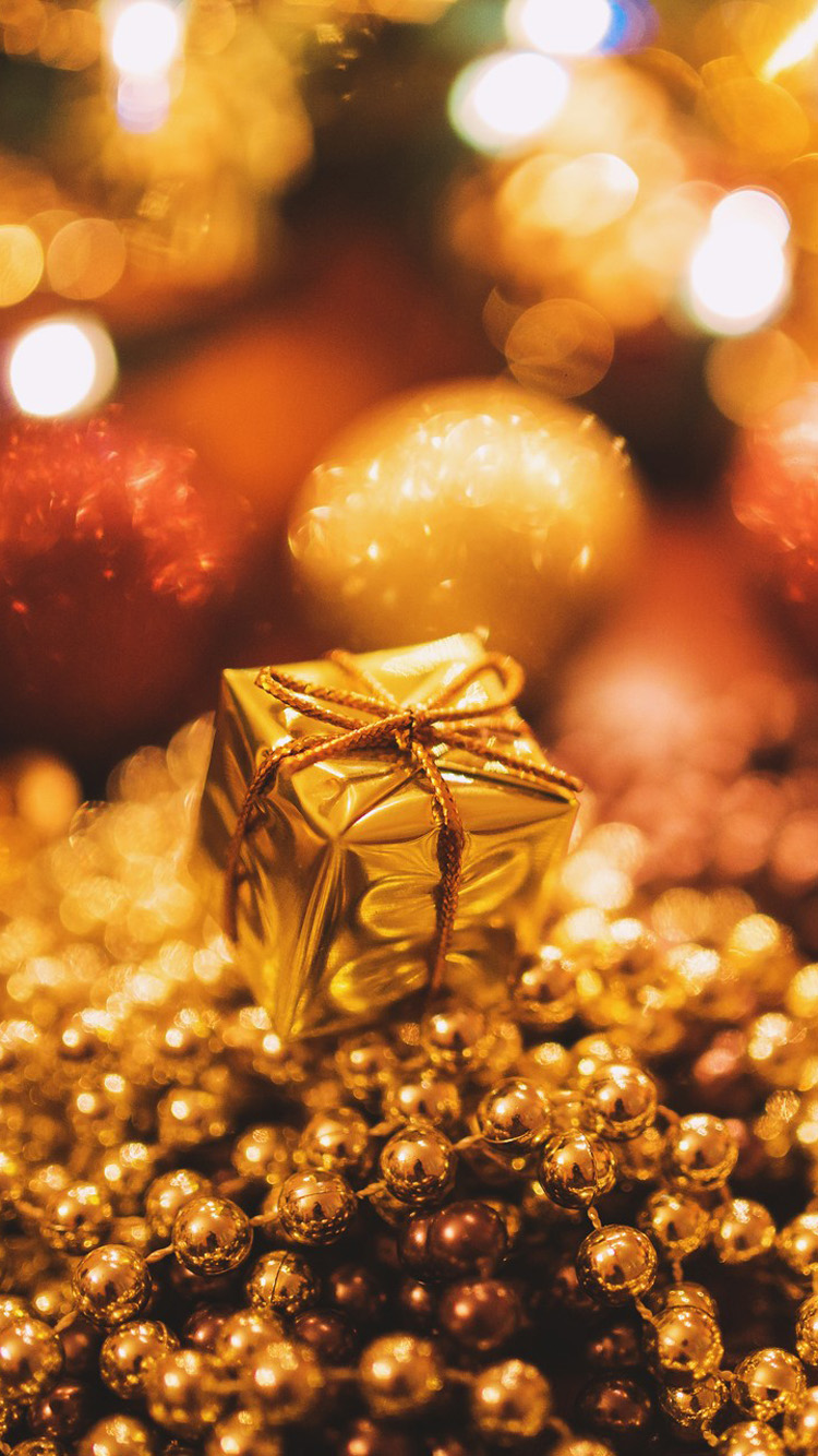 Tiny Gold Christmas Gift Mobile Wallpapers